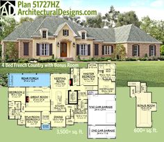 Architectural Designs #FrenchCountry #houseplan gives you from 2 to 4 beds with the same floor plan. Over 3,500 sq. ft. on the main floor with bonus expansion over the garage. Ready when you are. Where do YOU want to build?