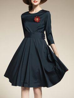 Shop Midi Dresses - Dark Blue Elegant Solid Crew Neck Midi Dress online. Discover unique designers fashion at StyleWe.com.