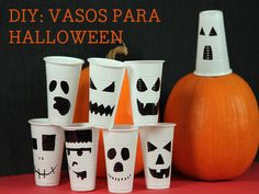 Halloween  tutorial sobre como pintar caras en unos simples vasos de plástico.