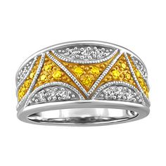 432011e163d4 Silver 0.33 ctw diamond and color enhanced yellow diamond ring. RIN-SIL-0432