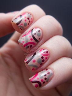 Chalkboard Nails: Arcs and Dots