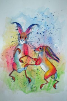 Aquarell Painting, Hare, Watercolor, Painting Art, Paintings, Paint, Draw