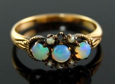 Antique-Victorian-25ct-Opal-Seed-Pearl-Ring-in-10k-Yellow-Gold-Sz-7-25-AS-IS
