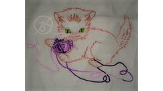 100% cotton hand embroidered baby animal towel kitten