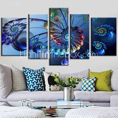 Canvas Set of 5 Ferris Wheel Modern Blue Still Life Stretched Canvas Print Ready to Hang - USD $ 99.99
