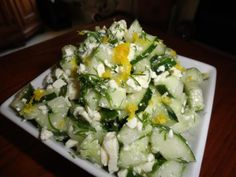 Cucumber and Feta Salad. This lunch or dinner dish is delicious and fresh.  The feta gives it a Greek flair making it perfect with kabobs. #GottoBeNC