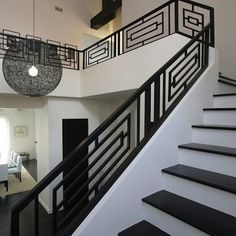Wrought Iron Railings Designs Hungrylikekevin Com Creative Railing Design For Stairs - iron railing design for stairs Staircase Railing Design, Modern Stair Railing, Interior Railings, Balcony Railing Design, Wrought Iron Stair Railing, Iron Staircase, Modern Stairs, Interior Stairs, Railing Ideas