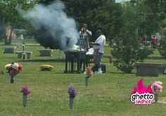 Barbecue at the cemetery--oh yeah some interesting people go to the cemetery...