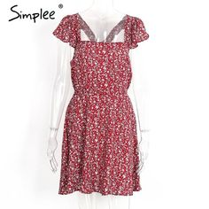 (23.78$) Simplee Backless navy floral print short dress Women back strap high waist summer dress Vintage red boho beach dress vestidos