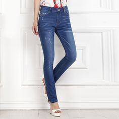 32.99$  Watch now  - Spring New Women Jeans Slim Elastic Straight Trousers Ladies Fashion Full Length Casual Mid High Waist Jeans Demin Pants Bottoms