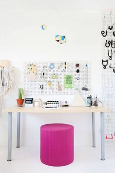 Tubular Steel Desk - For just minimal bucks, you can make a tubular steel desk for a fraction of what it might cost you at a high end dealer. Also, take look at another pegboard idea. You can see how you can manage crafts supplies without a hitch. Also, the pouf seat can double for extra seating elsewhere.