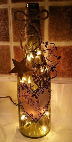 Live Laugh Love Wine Bottle Light