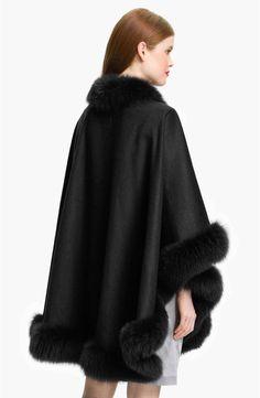 Sofia Cashmere Genuine Fox Fur Trim Cape | Nordstrom Fur Trimmed Cape, Cape Designs, Cashmere Cape, Wool Cape, Alpaca Wool, 15 Dresses, Fox Fur, Fur Coat, Nordstrom