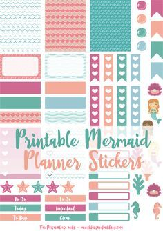 Free printable mermaid planner stickers! Sized for Erin Condren Life Planner!