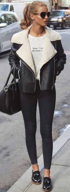 Ponytail #winter #fashion / shearling + leather