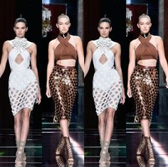 #ParisFashionWeek #Runway Report: #Balmain. -Kendall and Gigi working the runway at the Balmain show.