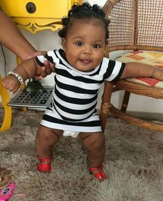 Absolutely gorgeous baby girl rocking a black and white dress with red shoes Cute Black Babies, Beautiful Black Babies, Cute Baby Girl, Beautiful Children, Little Babies, Baby Love, Black Kids, Cute Babies, Baby Girl Fashion