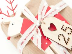 With love from Santa. a Christmas ribbon greeting with star design