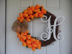 Gorgeous Orange Tulip Grapevine Wreath with by WreathsbyKelsey