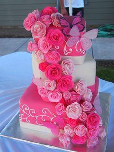 Pink Wedding Cake #squareweddingcake #pinkweddincake #pinkgumpasteroses #butterflyweddingcake #celebrationsofhope