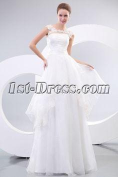 Summer Illusion Neckline Casual Wedding Dresses:1st-dress.com