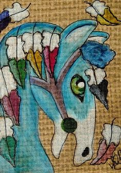 "Aceo Original ""CAROUSEL FEATHERED HORSE"" pencil/ink on canvas paper ON EBAY"