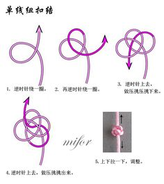 Single-Cord Button Knot  (via 蘭亭的日志)  Diagrams for a single-cord double-button knot can be found at source.