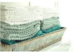 Another great idea from Jennifer. She used these washcloths as guest towels in her bathroom!