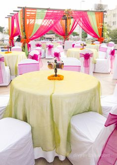 A bright and colorful Mehendi decor we did at a recent wedding in Bangalore on the client's terrace. #WeddingDecor #IndianWedding #WeddingPlanner #Mehendi