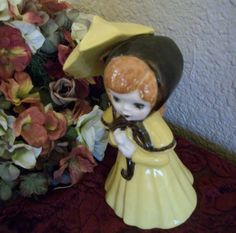 Vintage 1960's Hand Painted Ceramic Girl with by TKSPRINGTHINGS, $9.95