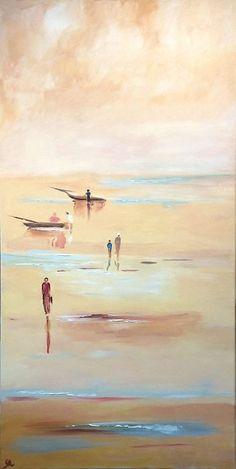 bateaux sur la plage - peinture à l'huile - réalisé au Lézard Créatif de Royan