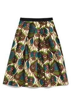 Light Beige Floral Below Knee Loose Chiffon Skirt
