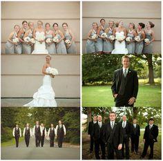 Grey Bridesmaid dresses and cream florals...my Carolina Wedding Design wedding