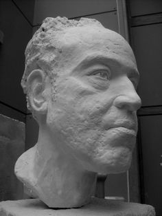 Plaster with stone base #sculpture by #sculptor Ben Russell titled: 'Dwight (Commision Portrait Plaster Man`s Head or Bust statue)'. #BenRussell
