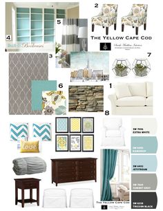 Update to our bedroom! Not over our comforter and I like this fresh color scheme from The Yellow Cape Cod. Design plan in turquoise & yellow & gray- perfect color scheme for master bedroom!