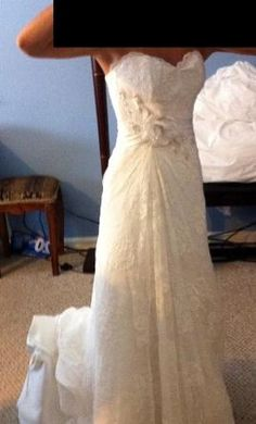 $700 Used Maggie Sottero Wedding Dress Embrace, Size 4   Pretty, but doesn't look that sparkly other than the waist