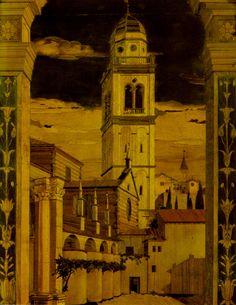 https://flic.kr/p/dXpCns | Verona, Santa Maria in Organo, Intarsie am Chorgestühl (marquetry at a choir stall) | Die Intarsie zeigt die linke Fassade der Kirche Santa Maria in Organo mit einem Kirchturm, den sich Fra Giovanni da Verona ausgedacht hatte und der tatsächlich auchdan in dieser Form gebaut wurde. Im Hintergrund ist der Turm der Kirche San Zeno in Monte dargestellt.  Fra Giovanni da Verona (ca. 1457 - 1525) gehörte dem Olivetaner-Orden an und war ein sehr vielseitiger Künstler…