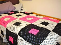 Teenager afghan - Granny square- hot pink and black via Etsy