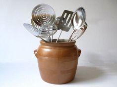 Kitchen Utensil Holder, French Confit Pot by MonsieurRenardsAttic #kitchen #utensils #crock