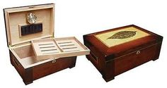 "NEW STETSON - 150 COUNT CIGAR HUMIDOR BOX DARK BURL W/TRAY & TOBACCO LEAF INLAY. THE STETSON - 150 CIGAR HUMIDOR. Capacity 150 Cigars, High Gloss Dark Burl Wood Finish w/Tobacco Leaf Inlay, Dome Shaped Top, Side Handles, Removable Tray, 2 Adjustable Dividers, Humidifier & Hygrometer, Lock & Key Set, 15-1/4""W x 10-1/2""D x 6-1/4""H. Different type of color available here. People Feedback is Greatly Appreciated!! #cigarbox  #CigarLifestyle  #cigarlife…"