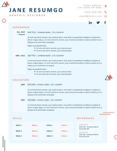 10 Best Creative Resume Templates images in 2019