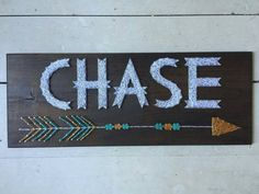 Large Rustic Woodsy Name String Art with Arrow by BlossomsNKnots