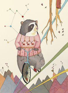 Bear in bicycle Art Print by Belén Segarra Art And Illustration, Graphic Design Illustration, Illustrations Posters, Raccoon Illustration, Street Art Graffiti, Bicycle Art, Art Graphique, Land Art, Surface Design