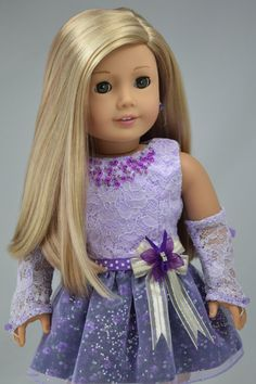 """American girl doll clothes """" Formal short length dress """" OOAK ( 2 pieces - Dress & Formal gloves )"""