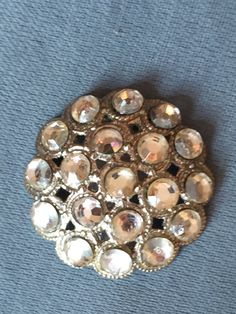 Vintage 1930's - 1940's Rhinestone Sew On Pin or Brooch. Pave Set. Silver Tone…