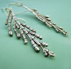 Cedar Branch Earrings  Sterling Silver by esdesigns on Etsy