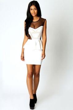 bd5a3ffe163 Buy Gold Studs women mesh sexy career slim Peplum Dress White at Wish -  Shopping Made Fun