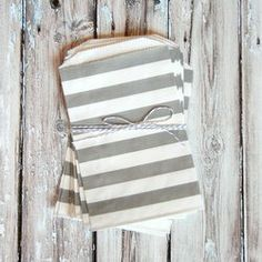 Rugby Striped Favor Bags - Gray - Medium from The TomKat Studio Shop www.shoptomkat.com