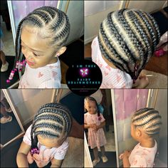 Kids Cornrow Hairstyles, Toddler Braided Hairstyles, Childrens Hairstyles, Cute Hairstyles For Kids, Girls Natural Hairstyles, Baby Girl Hairstyles, Braided Hairstyles For Black Women, Princess Hairstyles, Braids For Black Hair