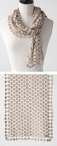 Here's another example of Sophie Digard's awesome crochet abilities. Available via lili et nene. I think this stitch would look stunning as a delicate bedspread. Shawl Crochet, Crochet Flower Scarf, Crochet Scarves, Crochet Motif, Crochet Clothes, Crochet Flowers, Crochet Lace, Crochet Stitches, Crochet Patterns